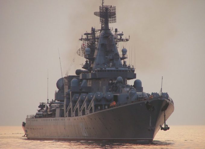 The Black Sea Fleet flagship Moskva enters to port of Sukhum
