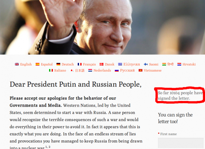 """10'000+ people have signed the """"Dear Putin and Russian People"""" appeal"""