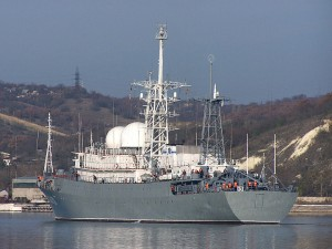 The Russian Navy's medium intelligence ship Priazov'e