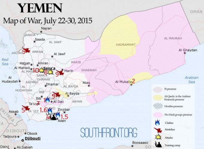 Yemen Map of War, July 22-30, 2015