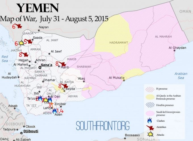 Yemen Map of War, July 31 – August 5, 2015: The Saudi-Led Coalition Started a Land Operation