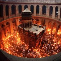 The Holy Fire descends on the eve of the Orthodox  Pascha in Jerusalem