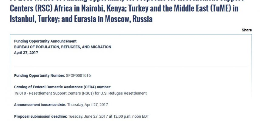 The US Department of State plans to open an Eurasia Migrant center in… Moscow