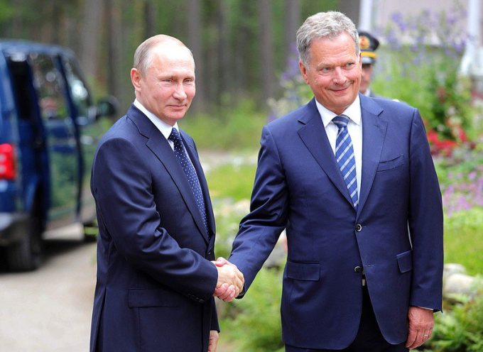 Vladimir Putin and Sauli Niinisto a joint news conference following bilateral talks.