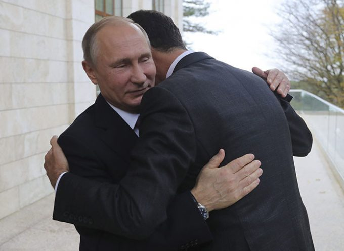 Bashar Assad warmly embraces Vladimir Putin and thanks him