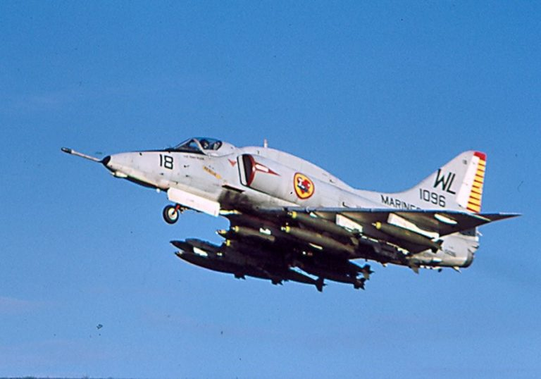 This image clearly illustrates the ordinance payload capacity of the A-4 Skyhawk. It could carry 9,900lbs. of munitions on 5 external hardpoints. It had an effective combat radius from an aircraft carrier of over 700 miles, and a maximum range of 2,000 miles.