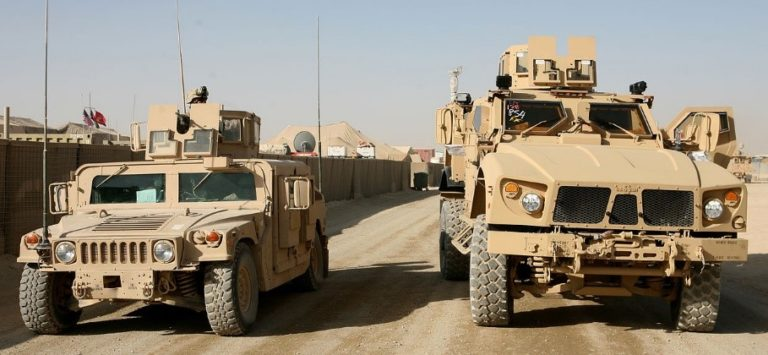 "Comparative size of the armored HMMWV and the M-ATV. The ubiquitous ""Hummer"" was never meant to be an armored car, and hundreds were destroyed by IEDs in both Iraq and Afghanistan."