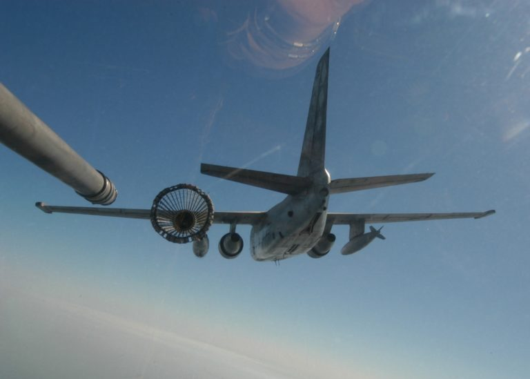 S-3 Viking in use as a carrier borne aerial refueling tanker. Even without significant modification, this stout little aircraft can carry 16,000 lbs. of fuel. The US Navy has 108 of these aircraft sitting in storage at a military aircraft storage facility in Arizona.