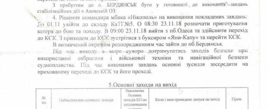 "Proof that Ukrainian crews were given the order to try to ""covertly"" cross the Kerch strait"