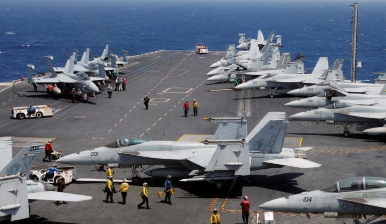 The only fixed wing aircraft that operate from U.S. Navy aircraft carriers today are the F/A-18 Hornet, F/A-18E Super Hornet and E-2C and E2-D Hawkeye AEW&C aircraft.