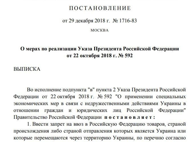 Ukrainian Goods Prohibited For Import Into the Territory of the Russian Federation