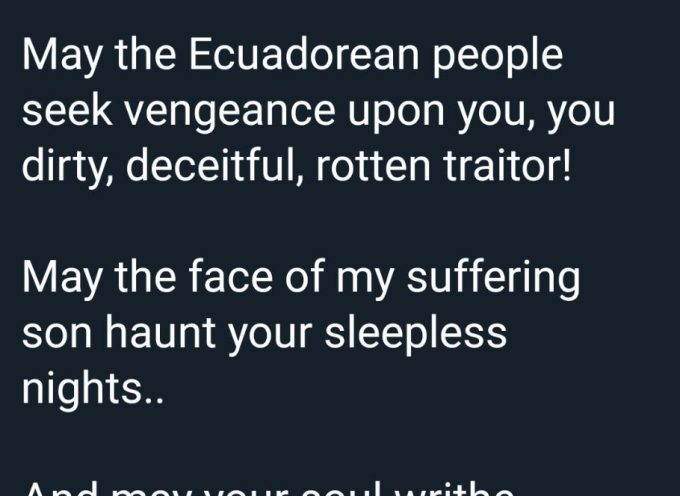 A short message from Julian Assange's mother to the President of Ecuador