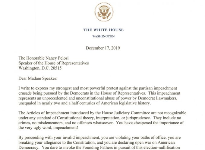 Very important letter from Donald Trump to Nancy Pelosi (MUST READ)