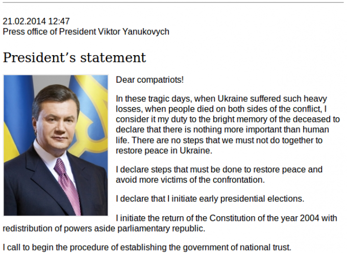 Yanukovich's capitulation statement
