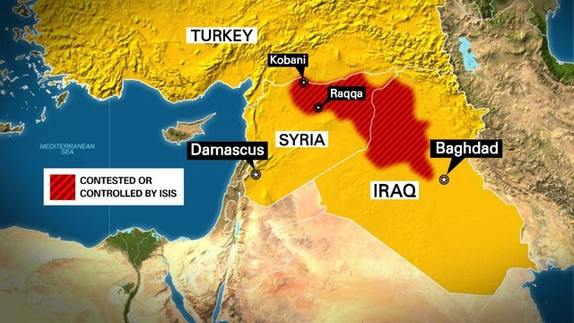 Map of the Middle East with area controlled by ISIL (ISIS)