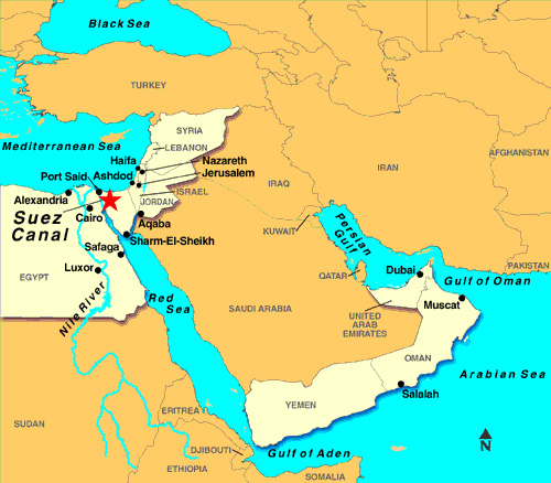 Map of the Middle East - Suez Canal