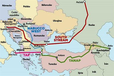 Map of pipeline routes to Europe - South Stream and TANAP-TAP