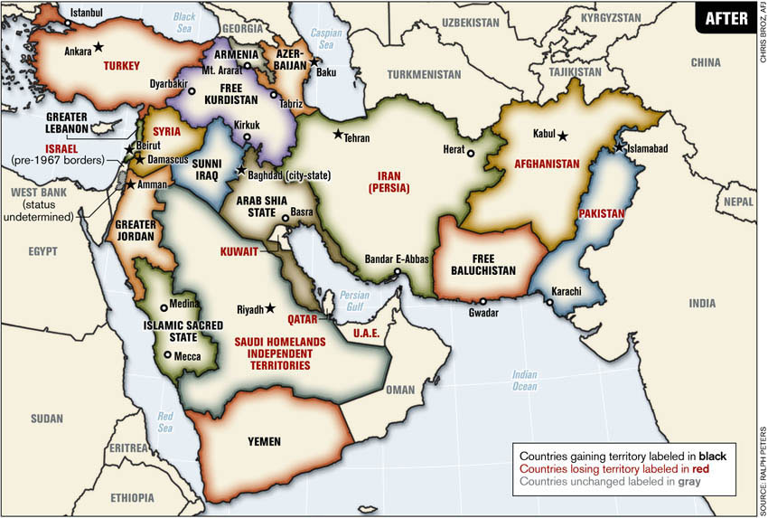 Redrawing the Middle East (after)
