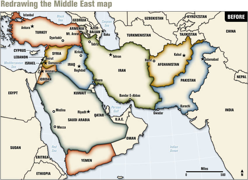 Redrawing the Middle East (before)