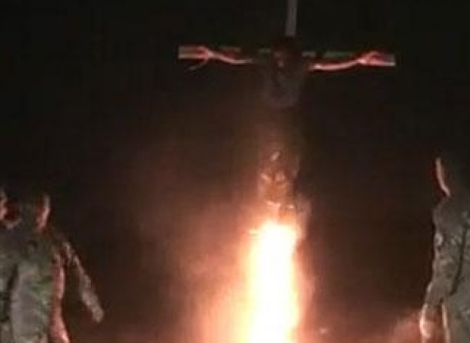 """Alleged """"Azov"""" battalion troopers crucifying a """"separatist supporter"""""""