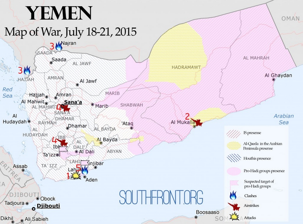 Yemen map of war july 18 21 2015 the vineyard of the saker with your support southfront has released the second article of the yemen map of war series july 18 21 2015 see yemen map of war july 14 17 sciox Choice Image