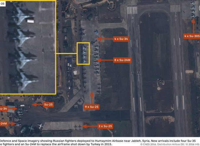 Space imagery of the Russian aircraft at the Hmeymim air base