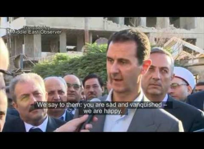Syria's Assad sends a message to Western officials from recaptured city – English Subs