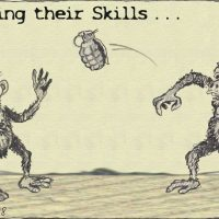 Monkeys with hand grenades are improving their skills