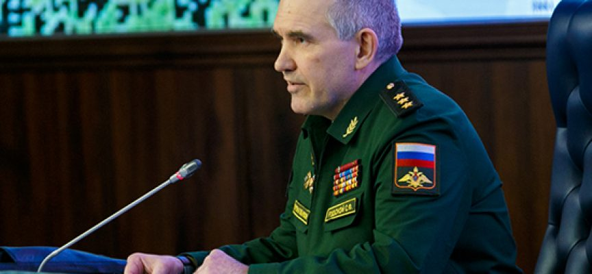 Chief of the Main Operational Directorate of the Russian General Staff Colonel General Sergei Rudskoy holds briefing for mass media