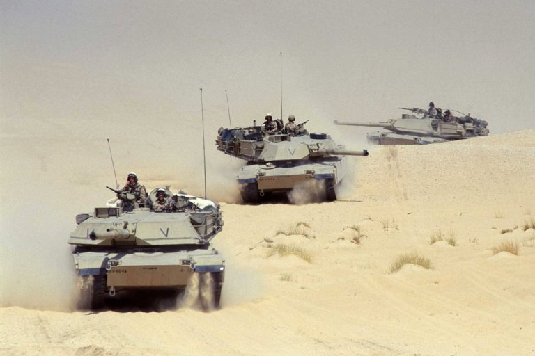 M1A2 Abrams tank platoon advancing during Operation Desert Storm. The armored combat vehicles of the U.S. Army proved very effective against a far inferior opponent in this conflict, yet they proved capable and reliable. Logistical requirements; however, did prove to be a challenge.