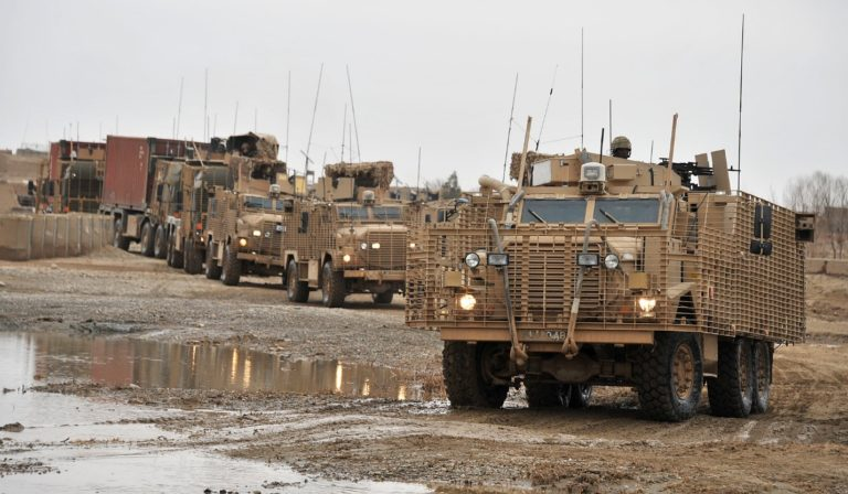 British Army variants of the 4×4 and 6×6 Cougar (Mastiff and Ridgeback) in a convoy protecting military transports in Afghanistan