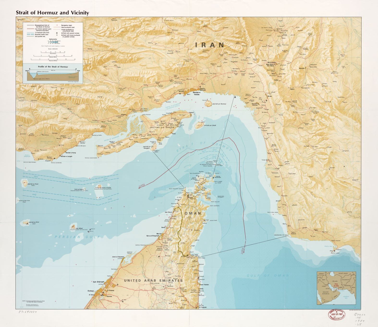 I high resolution topological map of the Strait of Hormuz
