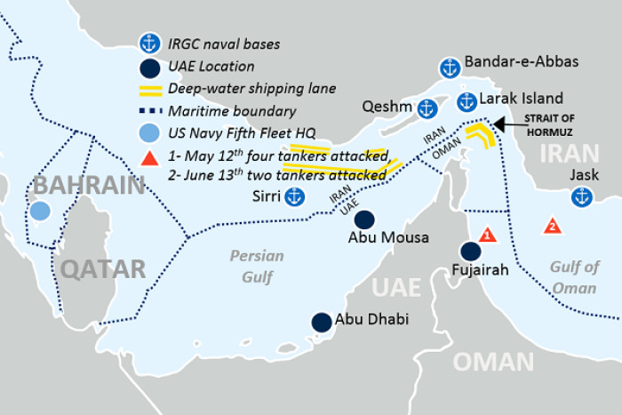 Location of the attacks on tankers