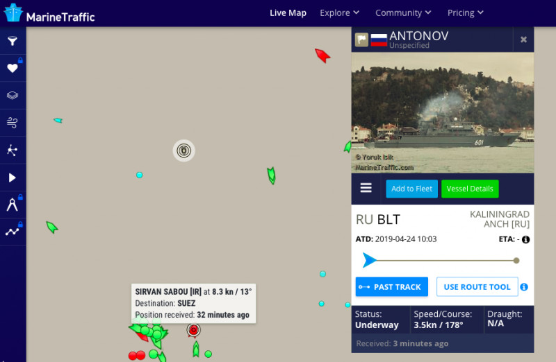 AIS screenshot: Marine Traffic